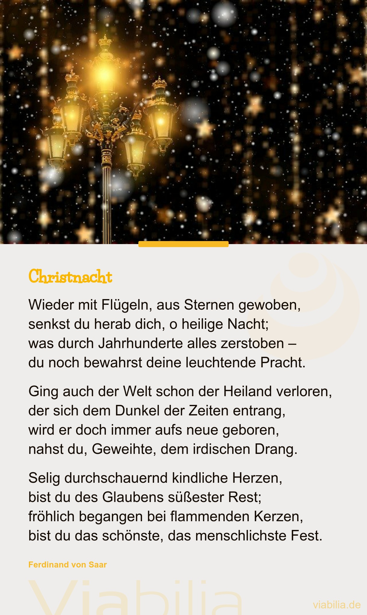 Traditionelles Gedicht: Christnacht